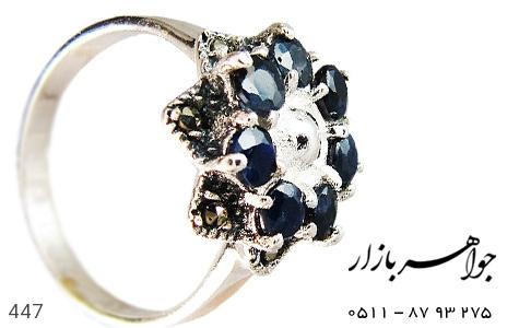 عکس انگشتر نقره یاقوت کبود طرح گل زنانه