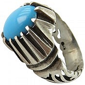 انگشتر نقره فیروزه چینی رنگ شده مردانه