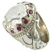 انگشتر نقره در نجف یاقوت رکاب یا علی مردانه دست ساز