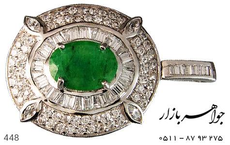 مدال نقره جید درشت جواهری - 448