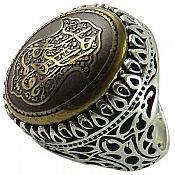 انگشتر نقره حدید حکاکی یا فاطمه الزهرا مردانه