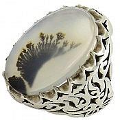 انگشتر نقره عقیق شجر خوش نقش و شاهانه مردانه دست ساز