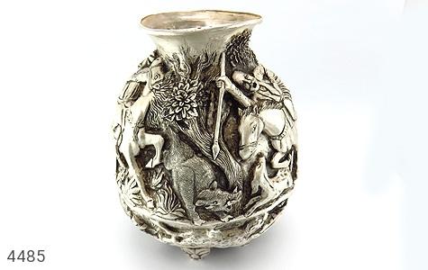 عکس تندیس نقره قلم زنی شکارگاه گلدان نقره