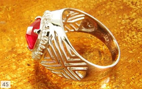 عکس انگشتر نقره طرح یاقوت پرنگین - شماره 2