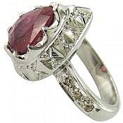انگشتر نقره یاقوت سرخ و برلیان اصل لوکس زنانه