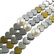 دستبند مروارید و حدید سه رشته ای زنانه