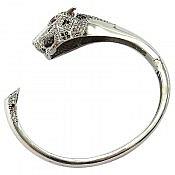 دستبند نقره لوکس طرح پلنگی زنانه