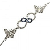 دستبند نقره طرح پروانه زنانه