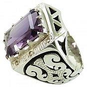 انگشتر نقره آمتیست و برلیان اصل شاهانه مردانه دست ساز