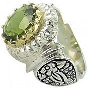 انگشتر نقره زبرجد طرح سلطنتی مردانه دست ساز