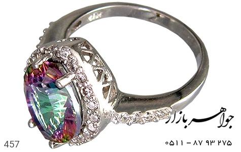انگشتر نقره توپاز هفت رنگ پرنگین زنانه - 457