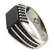 انگشتر نقره عقیق مشکی مردانه