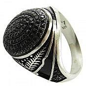 انگشتر نقره انیکس مشکی مردانه
