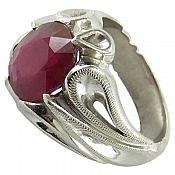 انگشتر نقره یاقوت سرخ شاهانه مردانه دست ساز