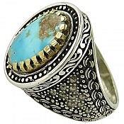 انگشتر نقره فیروزه نیشابوری طرح شاهانه مردانه