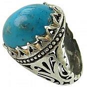 انگشتر نقره فیروزه کرمانی طرح سلطنتی مردانه دست ساز