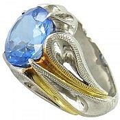 انگشتر نقره توپاز سوئیس شاهانه مردانه دست ساز