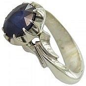 انگشتر نقره یاقوت کبود شاهانه مردانه دست ساز