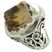 انگشتر نقره عقیق شجر خوش نقش و شاهانه مردانه