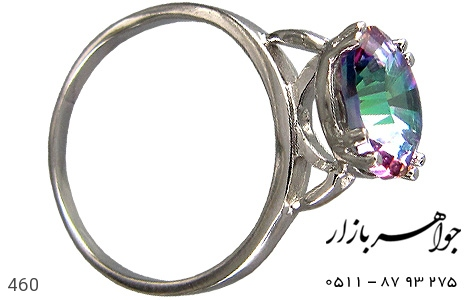 انگشتر نقره توپاز هفت رنگ اسپرت زنانه - 460