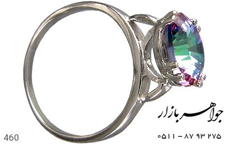 عکس انگشتر توپاز هفت رنگ اسپرت زنانه