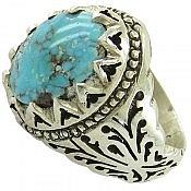 انگشتر نقره فیروزه نیشابوری سلطنتی مردانه دست ساز