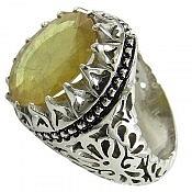 انگشتر نقره یاقوت آفریقایی زرد شاهانه مردانه دست ساز