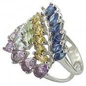 انگشتر نقره یاقوت سیترین زبرجد توپاز آمتیست طرح حدیث زنانه