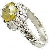 انگشتر نقره یاقوت زرد و برلیان اصل فاخر زنانه