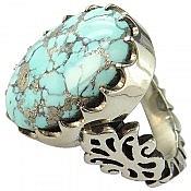 انگشتر نقره فیروزه نیشابوری زیبا و فاخر مردانه دست ساز
