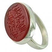 انگشتر نقره عقیق حزر دار حکاکی صلوات مردانه دست ساز