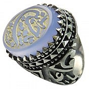 انگشتر نقره عقیق حکاکی یا حسین علیه السلام مردانه