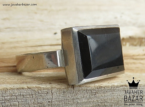 انگشتر نقره عقیق سیاه کلاسیک مردانه دست ساز - 46527