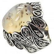 انگشتر نقره عقیق شجر طرح خاص مردانه