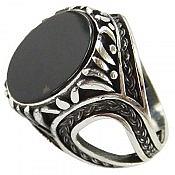 انگشتر نقره عقیق سیاه فاخر مردانه