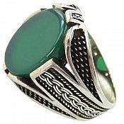 انگشتر نقره عقیق سبز طرح رحمان مردانه