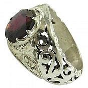 انگشتر نقره یاقوت شاهانه مردانه دست ساز
