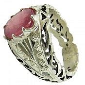 انگشتر نقره یاقوت طرح سلطنتی مردانه دست ساز