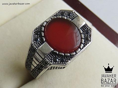 انگشتر نقره عقیق طرح خاص مردانه - 46777