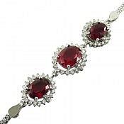دستبند نقره یاقوت سنتاتیک طرح مانا زنانه