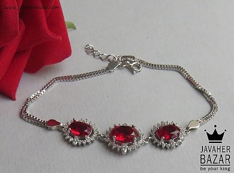 دستبند نقره یاقوت سنتاتیک طرح مانا زنانه - 46786