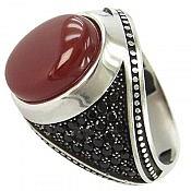 انگشتر نقره عقیق قرمز مردانه
