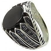 انگشتر نقره عقیق سیاه جذاب مردانه