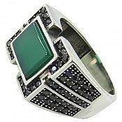 انگشتر نقره عقیق سبز جذاب مردانه
