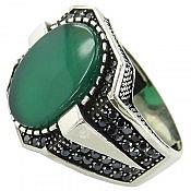 انگشتر نقره عقیق سبز طرح آرمان مردانه