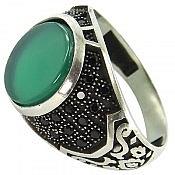 انگشتر نقره عقیق سبز طرح بهنام مردانه