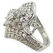 انگشتر نقره سولیتر جواهری زنانه