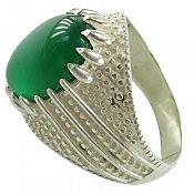 انگشتر نقره عقیق سبز طرح سنتی مردانه