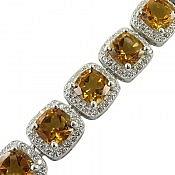 دستبند نقره سیترین لوکس زنانه