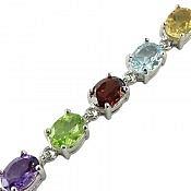 دستبند نقره سیترین و توپاز و زبرجد و گارنت و آمتیست لوکس زنانه